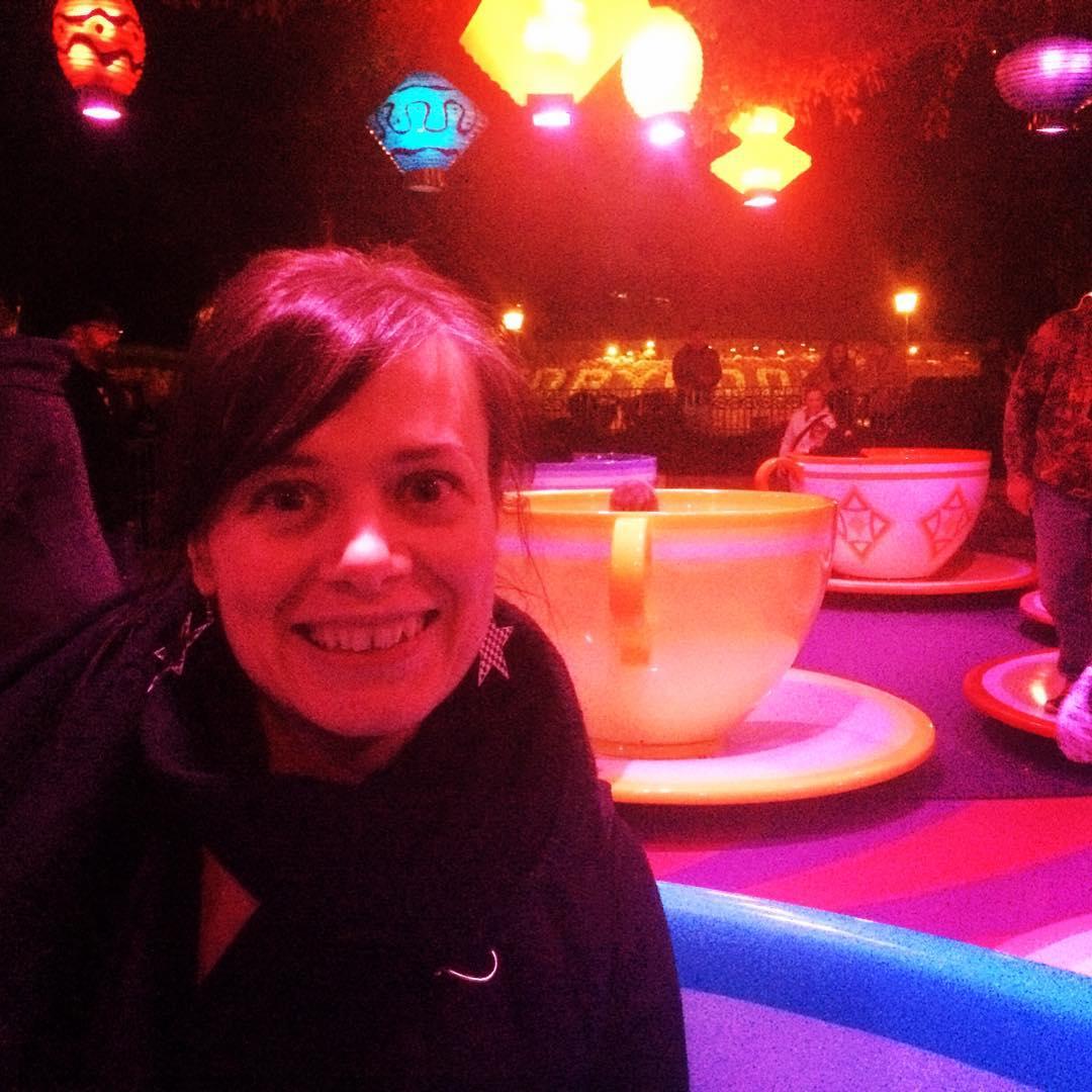 rachelle on tea cup ride at Disneyland!
